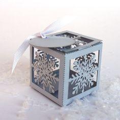 Laser cut favor box  Snowflake by KatBluStudio on Etsy