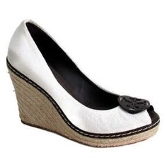 HP Tory Burch Peep Toe Linen Espadrille Wedges Fabulous Tory Burch Peep Toe Linen Espadrille Logo Wedges with brown accents! Perfect for spring & summer! Previously loved, but in good condition! Size 7.5. Tory Burch Shoes Espadrilles