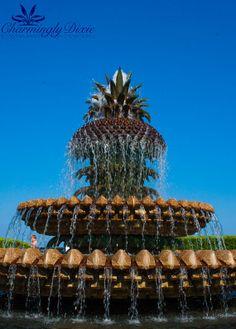 Pineapple Fountain Charleston SC  signed print by CharminglyDixie, $30.00