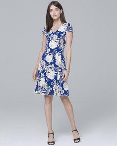 d85327e648fab Women's Floral-Print Knit A-Line Dress by White House Black Market Petite  Outfits