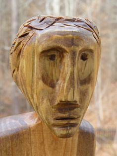 John Lynch Primitive Folk Art Wood Carving Stone by ArtVineyard