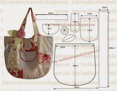 A discrição que segue em baixo facilita o corte e costura da bolsa em tecido. Desenhe em papel a bolsa com as medidas que estão na imagem. Corte dois retâng
