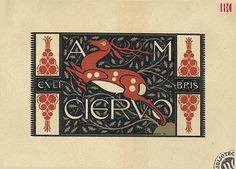 Ex libris. A.M. Ciervo. 1918. Artist Josep Triadó..