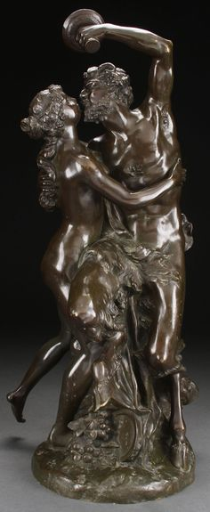 "After CLAUDE MICHEL CLODION  (French 1738-1814) Satyr and Nymph -circa 1850 Bronze with dark brown patina Inscribed ""Clodion."""