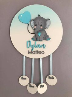 Cutest Elephant Round Wood Sign Wooden Name Sign Wall Painted Name Signs, Wooden Name Signs, Wooden Names, Cute Baby Girl Names, Nursery Signs, Cute Elephant, Newborn Gifts, Baby Room Decor, Baby Crafts