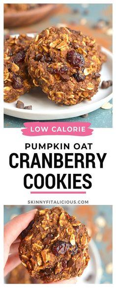 Healthy Pumpkin Oatmeal Cookies are a low calorie and low sugar cookie recipe! #healthy #pumpkin #cookie #low #calorie #oats #oatmeal #lowsugar #lowcalorie #glutenfree