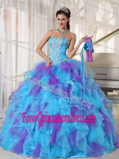 Blue and Purple Quinceanera Dresses with Flowers