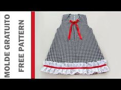 Corte e Costura: Vestido Infantil - SUPER FÁCIL - YouTube Frock Design, Cute Dresses, Cute Outfits, Summer Dresses, Baby Girl Christmas Dresses, Toddler Dress Patterns, Sewing Baby Clothes, Sewing Alterations, Fancy Dress For Kids