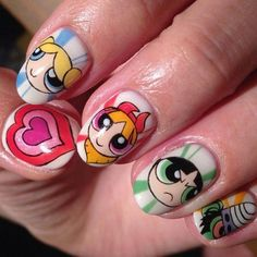 """The Powerpuff Girls""art nails - Best Nail Art Disney Acrylic Nails, Disney Nails, Cute Acrylic Nails, Cartoon Nail Designs, Cute Nail Designs, Punk Nails, My Nails, Anime Nails, Kawaii Nail Art"