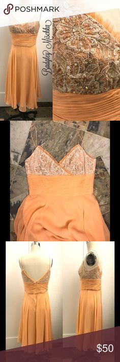 NWOT BADGLEY MISCHKA coral embroidered silk dress NWOT BADGLEY MISCHKA coral embroidered silk dress, GORGEOUS.  New condition.  ~IF YOU LIKE AN ITEM, DON'T WAIT!  ONCE IT'S GONE, THERE IS NO BRINGING IT BACK! Badgley Mischka Dresses Midi