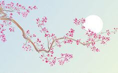 Stencil Cherry Blossom and Moon. Large Flower Branch Stencil Source by sandrakorn Japanese Blossom, Japanese Art, Tree Stencil, Stencils, Cherry Blossom Painting, Wall Murals, Wall Art, Flower Branch, Motif Floral