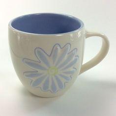 Starbucks Coffee Tea Mug Embossed Daisy Flower 2006 14 ounce blue white soup #Starbucks