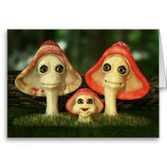 Cute and Whimsical Mushroom Family Greeting / Birthday Card