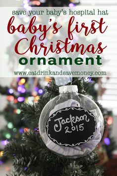 Check out this easy way to save your baby's hospital hat and turn it into a baby's first Christmas ornament. It's a fun DIY Christmas ornament that anyone can make, even if you aren't crafty.   Easy DIY Ornaments that Kids Can Make http://eatdrinkandsavemoney.com/2016/11/28/easy-diy-ornaments-that-kids-can-make/