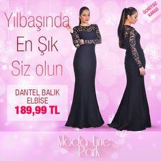 Yılbaşında En Şık Siz Olun Dantel Balık Elbise 189.99TL www.modalinestore.com