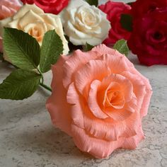 Crepe Paper Tea Rose Single Stem  Wedding Flowers  by NectarHollow