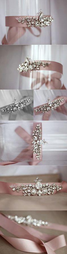 """Vintage """"Fairy Wing"""" Elegant Blush Pink Crystal Embellished Wedding Dress Evening Gown Belt Sash on Etsy"""