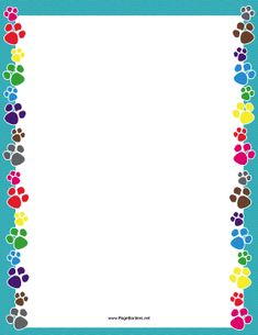 There are colorful dog paw prints on the sides of this printable blue border. Free to download and print.