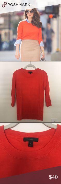 Orange J Crew Sweater Great condition, 3/4 sleeves J. Crew Sweaters Crew & Scoop Necks