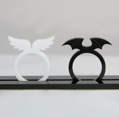 Angels and Devils Acrylic Wings Rings Black / White by CupOfSea