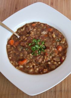 Slow Cooker Beef Barley Soup - use brisket, remove fat