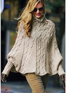 Knitting Pattern Women Poncho with Long Puffy by AliceInCraftyland, $1.90
