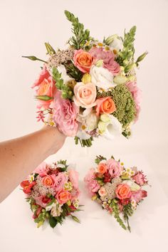 Coral tone bridesmaids bouquets - Rustic wedding flowers made by Amy's Flowers