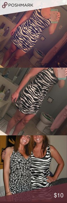 Zebra print mini dress Worn this once in college. In great condition! It is form fitting on the top area then slightly looser from the waist down. Still form fitting but not skin tight. (See second picture to get an idea.) H&M Dresses Mini