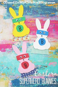 "Easter Superhero Bunnies - Kid Craft by Stacey-These ""super"" fun creations are perfect for your Easter and spring celebrations, as well as in your child's everyday creative imaginative play."