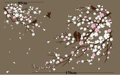 Cherry Blossom Branches with Birds - Vinyl wall sticker- wall decal- tree decals- wall murals art - nursery wall decals- Floral-Nature