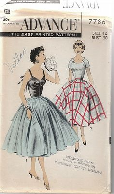 Vintage 50s Uncut Sexy Top Blouse Wide Circle Skirt Pattern B 30 Advance 7786 | eBay