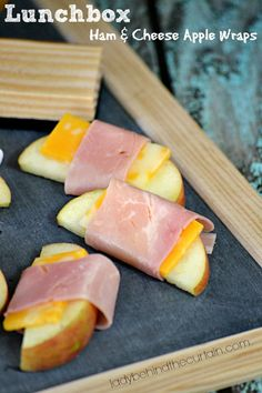 I love that these Lunchbox Ham and Cheese Apple Wraps don't have any bread!  Perfect for the kids that can't have bread products.  The combination of a sweet apple with the savory cheese and ham are perfect. #lunch #recipes #food #foodie #ladybehindthecurtain