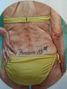 "This picture makes me want to NEVER get a tattoo. peoples I know will deff look like this one day. So nasty and not worth it""- When I see this I see beauty, it only makes me want one further Old Women With Tattoos, Happy Birthday Images, Funny Tattoos, Red Hats, Forever Young, Tatoos, Bad Tattoos, Tattoo Ink, Older Women"