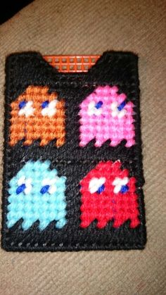Plastic canvas pac man ghosts gift card holder