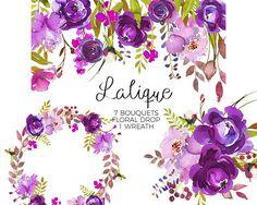 Púrpura de peonías rosas imágenes prediseñadas acuarela Ramos