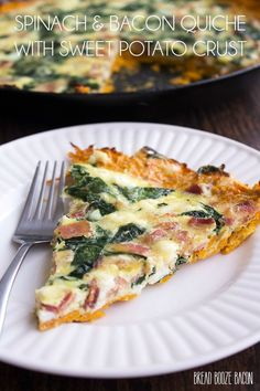 Spinach and Bacon Quiche with Sweet Potato Crust is a deliciously filling…