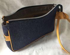 Dooney & Bourke Baguette Denim/Tan Leather Strap/Piping D&B Badge VGC in Clothing, Shoes & Accessories, Women's Handbags & Bags, Handbags & Purses | eBay