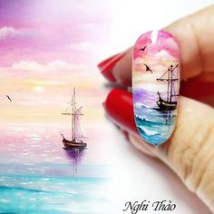 Vẽ phong cảnh Nail – nghithao Monogram Nails, Wonder Nails, Sculpted Gel Nails, Palm Tree Nails, Sea Nails, Airbrush Nails, Romantic Nails, Vacation Nails, Cute Nail Art