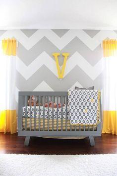 Chevron wall gray and yellow nursery