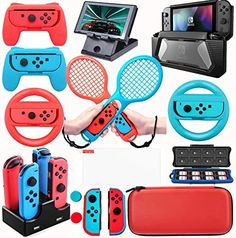 Dacckit Accessories Kit Compatible W Nintendo Switch Including Joy Con Wheel Ten for sale online Video Game Nintendo, Nintendo Switch Games, Super Nintendo, Nintendo Room, Nintendo Eshop, Juegos Ps2, Nintendo Switch Accessories, Video Game Rooms, Game Room Design