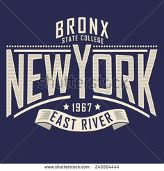 College New York typography, t-shirt graphics, vectors - stock vector
