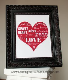 Blooming Homestead: Valentine Printables (different colors - free)