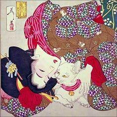 Estampe japonaise, geisha et son chat.