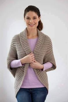 Shrug pattern by Lion Brand Yarn Found on Ravelry: Free Pattern Casual Shrug.Found on Ravelry: Free Pattern Casual Shrug. Crochet Jacket, Crochet Cardigan, Knit Or Crochet, Crochet Scarves, Crochet Clothes, Crochet Cocoon, Crochet Shrugs, Crochet Shawl, Crochet Sweaters