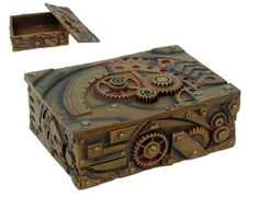 """Steampunk box. Hand painted, cold cast resin Steampunk Inspired gear box. Store your prized treasures and gadgets in the Steampunk Colonel J Fizziwigs Trinket/Gear Box. The box is garnished with gears, giving it a rustic Steampunk look. 5"""" x 4"""" www.ReikiRisingArts.com"""