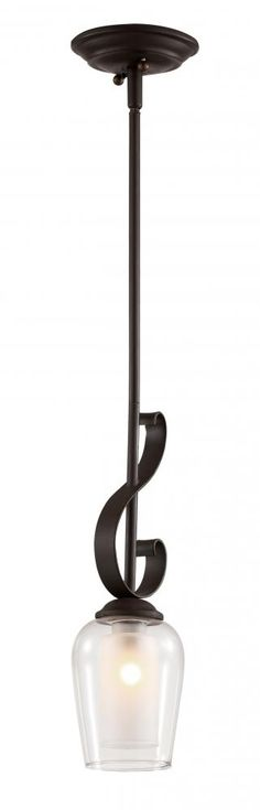One Light Rubbed Oil Bronze Clear Outer, Frosted Inner Glass Down Pendant : SKU TMDG | Carol's Lighting
