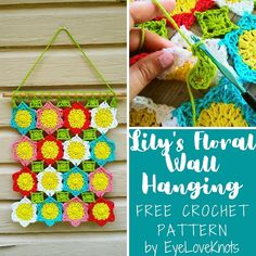 Lily's Floral Wall Hanging – Free Crochet Pattern Knitting Designs, Crochet Designs, Crochet Patterns, All Free Crochet, Free Knitting, Half Double Crochet, Single Crochet, Floral Hoops, Flower Center