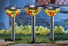 UNIQUE HUMMINGBIRD SOLAR LAMP SET OF 3 GARDEN STAKE PATH LIGHTING YARD DECOR NEW