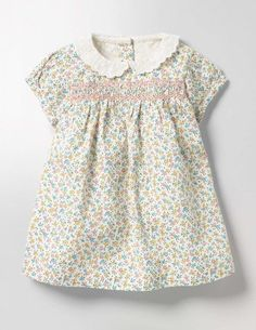 Pretty Collared Smock Dress (Multi Baby Rose)