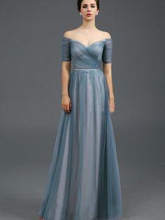A-Linie/Princess-Stil Carmen-Ausschnitt Bodenlang Tülle Kurze Ärmel Perlenstickerei Kleider